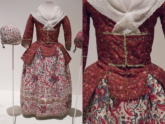 Girl's ensemble of red ground chintz jacket and chintz skirt. Fabric jacket: India, 1725-1775, jacket ca. 1760.