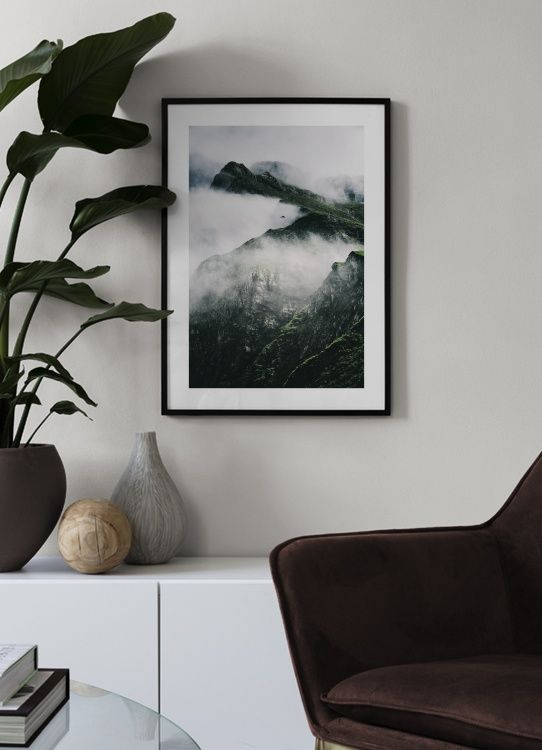Rugged Misty Mountains Poster Faux Painting Walls Inspirational Wall Art Online Wall Art