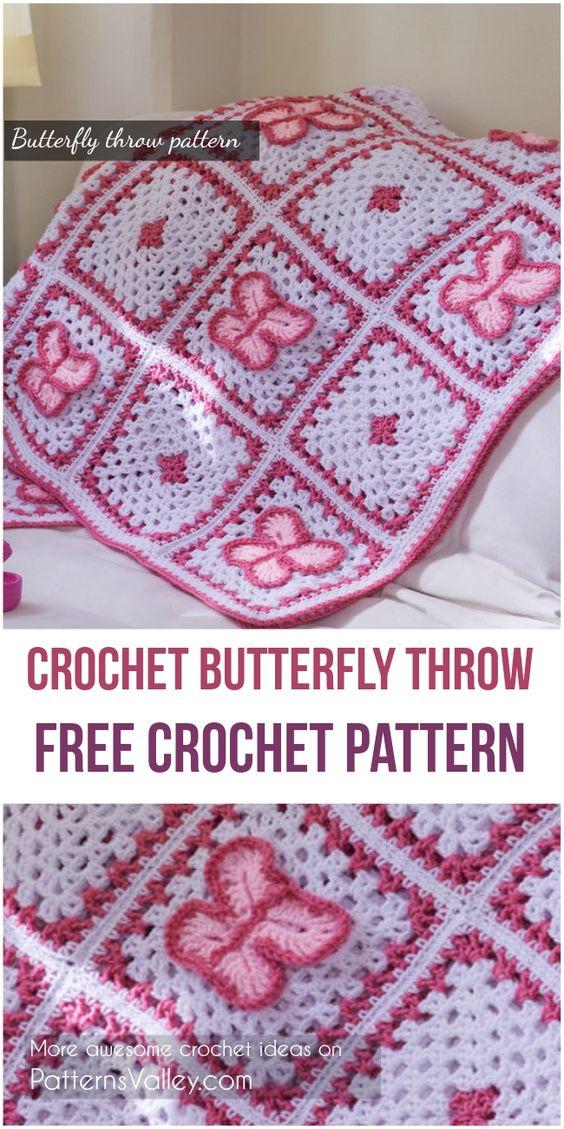 Crochet Butterfly Throw [Free Crochet Pattern] #freecrochetpatterns #babyblanketpattern #crochet #butterfly #motif #crochetlove