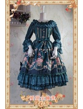 Infanta ~Love*Canary~ Dark Green Lolita Jumper Dress