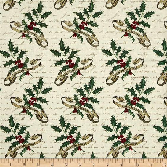 Joyeux Noel Holly Ecru from @fabricdotcom  Designed by Studioe Fabrics, this cotton print fabric is perfect for quilting, apparel and home decor accents. Colors include red, green, black and cream.