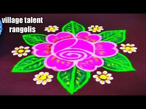 New Year Beautiful Rose Flower Chukkala Muggulu 5 3 Easy Rose Kolam Youtube In 2020 Rangoli Designs With Dots Beautiful Rangoli Designs Rangoli Designs Images