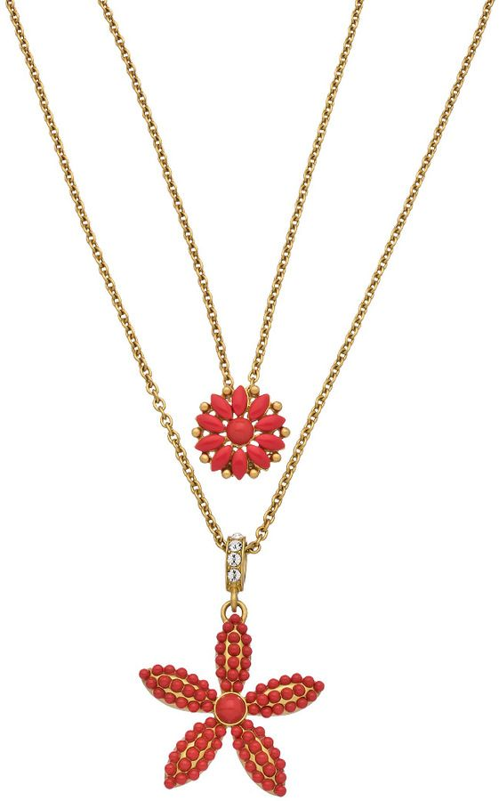 Carolee Two Layer Gold Crystal And Coral Beaded Flowers Pendant Necklace on shopstyle.com