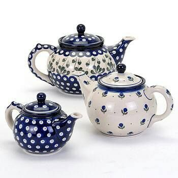 Polish Pottery tea pots   we have these time to time. right now we have a beautiful cup n saucer to match these! TeaPots n Treasures  133 East Ohio Street Downtown Indy 317.687.8768  www.teapots4u.com
