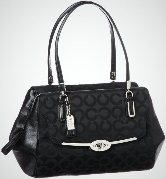 The Coach Madison Op Art Sateen Madeline Satchel is a classic sophisticated, handbag with elegant silver hardware for a refined finish, crafted in rich sateen fabric and trimmed in  smooth black leather. Surprisingly spacious inside, this Satchel is able to carry all the daily essentials without ...