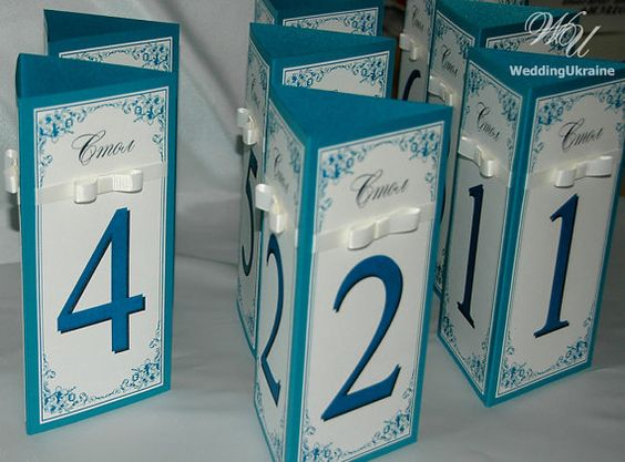 Wedding table numbers with ribbon and bow  Teal by WeddingUkraine