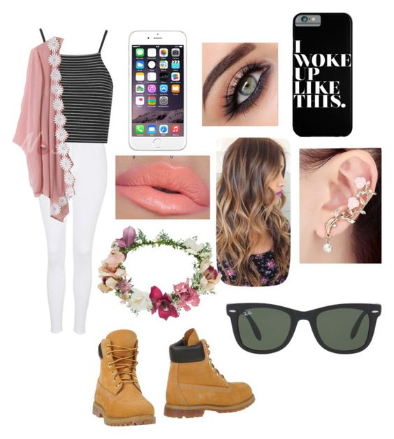 """Untitled #347"" by thefashionqpolice ❤ liked on Polyvore featuring Topshop, Timberland and Ray-Ban"