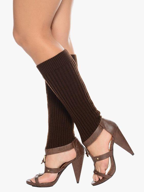 Leg Warmer Unique Brown & Gold High Heels