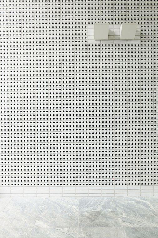 White painted perforated brick walls floors pinterest for Perforated brick wall