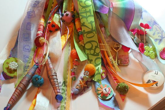 Ribbon tassel with stamping, felt balls, bead, punched paper, sequins, buttons and love...