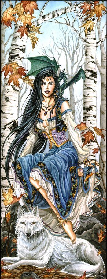 la fille au loup et au dragon. Une elfe?