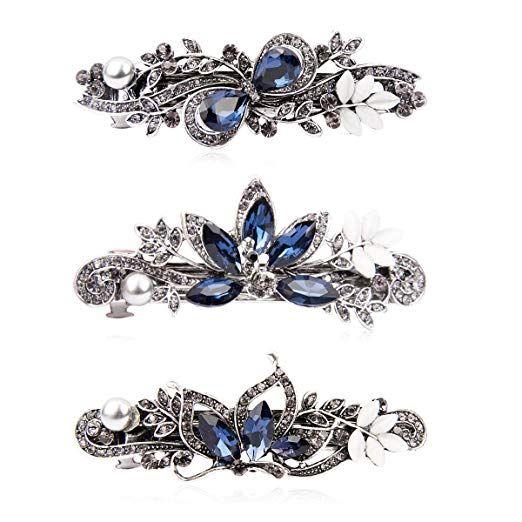 Rhinestone Barrette-Bridal Crystal Hair Clip French Barrette For Weddings