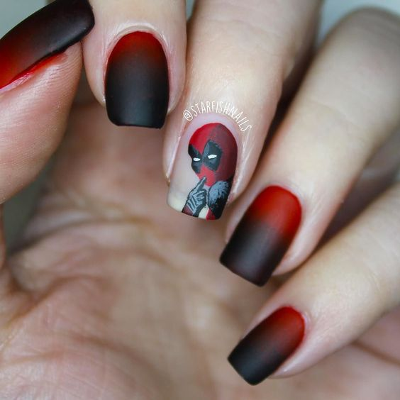 Im still yet to see the new #deadpool  movie but that's not going to stop me rocking some themed nail art !  The black and red are both from the @modelsownofficial #hypergel collection and deadpool is painted on using acrylic paints as usual