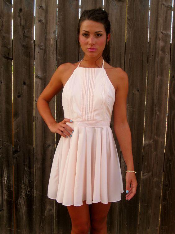 Light Pink Pleat Halter Dress - Dress Up! - Pinterest - Pink dress ...
