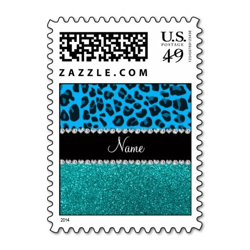 Name sky blue leopard turquoise glitter stamp