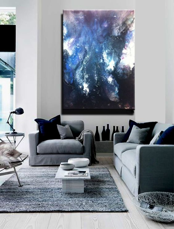 Modern Living Room Paintings : wall art blue interior painting canvases gray navy modern wall art new ...