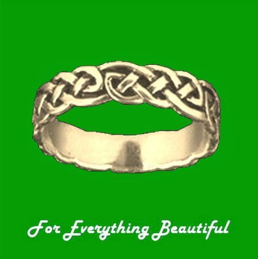 Celtic Interlinked Endless Simple 10K Yellow Gold Ladies Ring Wedding Band