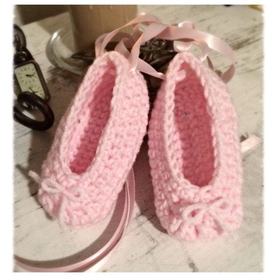 Crochet Ballet Slippers toe shoe 0-12 month by BeccasBeanies