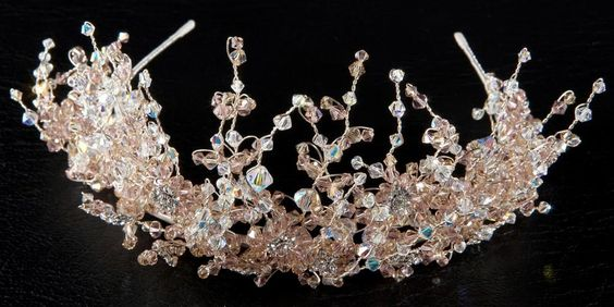 A072 Crystal Moment. Flower design decorated with amber, pink ab Swarkovski crystals and diamonte.