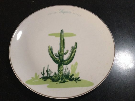 Blakely oil dinner plate platinum trim saguaro cactus for Calligrapher canape plate