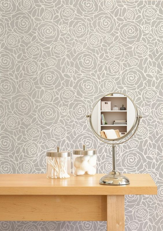 Flower Wall Stencil Rockin Roses Floral Damask Stencil for