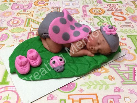 Baby Lady Bug on a Large Leaf with Lady Bug friends  Cake Topper/This little girl is ready for your party. Baby Shower, Birthday, Baptism