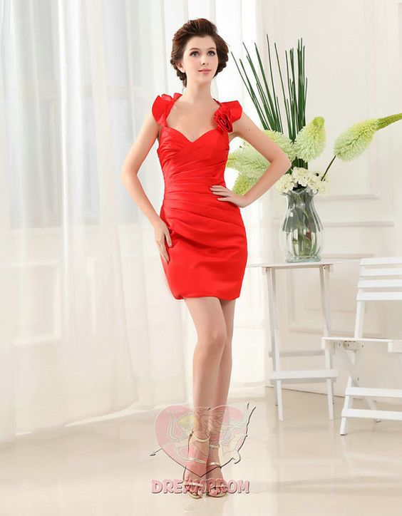 New arrival custom made pleat fashion red halter by angeldreamprom, $92.55