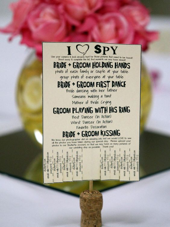 A neat iSpy list for your wedding