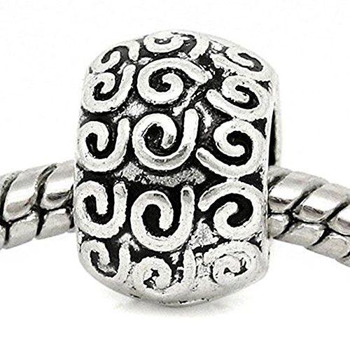 Swirl Pattern Carved on European Bead Compatible for Most European Snake Chain Charm Braceletss