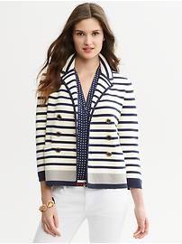 Multi-stripe double-breasted sweater blazer