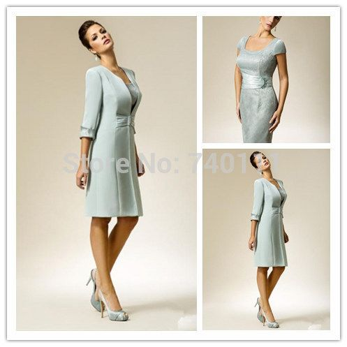 Free Long Coat Knee Length Mother Of The Bride Outfit 3/4 Sleeve