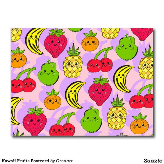 Kawaii Fruits Postcard