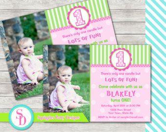 1 º primer bebé niña cumpleaños invitación Shabby por DesignAndLife