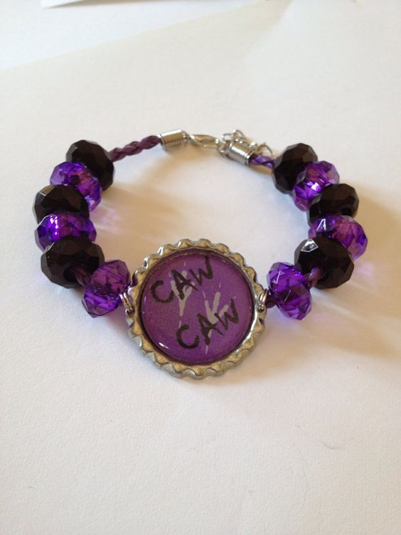 "Baltimore Ravens Football Inspired Beaded Purple Leather Adjustable Bracelet with Purple & Black Beads with ""Caw Caw"" Pendant 8""-9"""