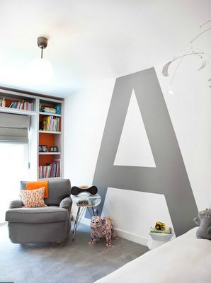 Oversized single initial in kid's room. Could do this in any color and font. This design is from Cari Berg Interior Design & was featured in the November/December 2011 issue of California Home Design. Wall opposite bookshelves is a bright orange accent wall that matches the paint inside bookshelves. Would be cute for Hudson's room.