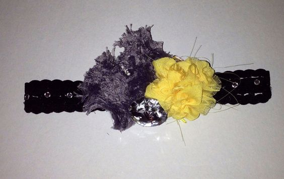 Yellow and grey with headband.  Yellow flower is hand sewed with chiffon fabric.  Etsy.com/shop/ILiveToLoveYou