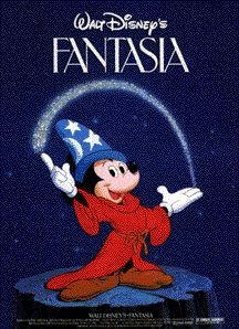 """Fantasia (1940), a Disney animated feature-length """"concert"""" film milestone, was an experimental film integrating eight classical musical compositions with imaginative, artistically-choreographed animation. A timeless classic of animation."""