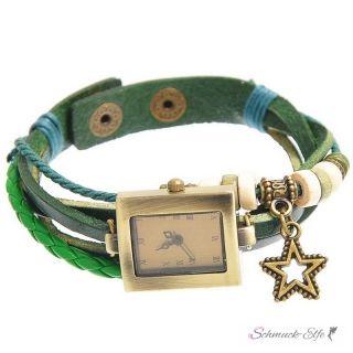 PU Leder Armbanduhr  Vintage STERN grün  im Organza...