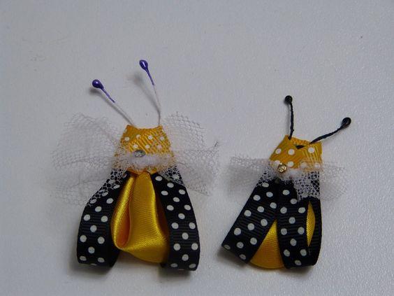 Abejitas en cinta delgada  y petalo kanzashi para decorar tus accesorios...