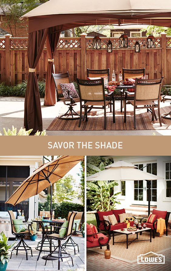 Maximize your patio time in the shade of an umbrella or gazebo. Up ...