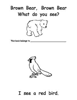 This is an emergent reader you can use after reading for Brown bear what do you see coloring pages