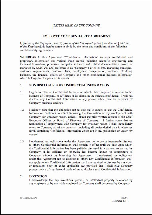 Employment Confidentiality Agreement Template Luxury Employee Non Disclosure Agreement In 2020 Non Disclosure Agreement Interior Design Resume Template Agreement
