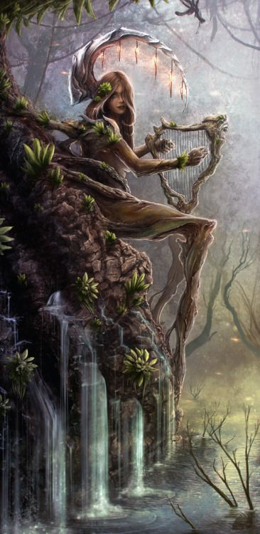 Dryad is a female tree spirit from Greek Myth, who were known to protect the trees in which they lived. Part of the reason for it is that they would die with if their tree perished, as if she was the soul of the tree.: