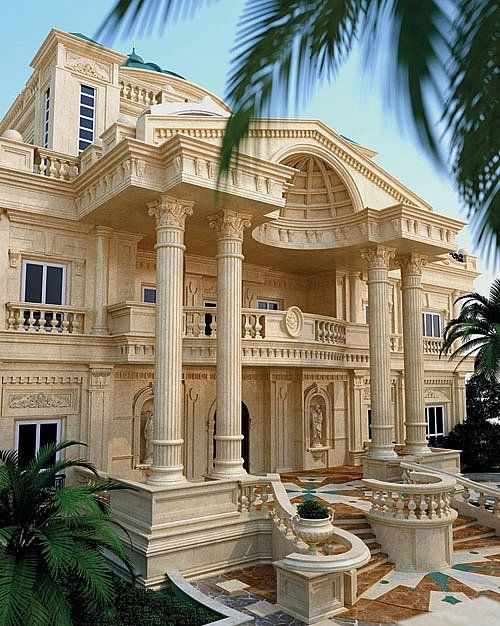 تنفيذ اعمال موزاييك واجهات الفلل في الكويت ت 22624166 مقاول تصميم وتنفيذ اعمال الموزاييك الخار Luxury Exterior Luxury Exterior Design Luxury Homes Dream Houses