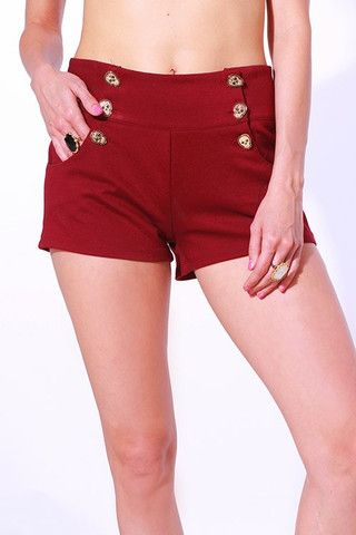 Bordeaux sailor shorts with skull buttons by Bear Dance – doublebreasted.me