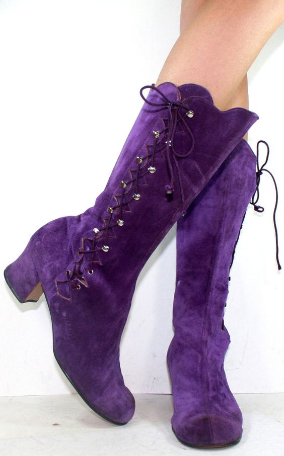 Vintage High Heel Suede Purple Mid Calf Tall Slouch Womens
