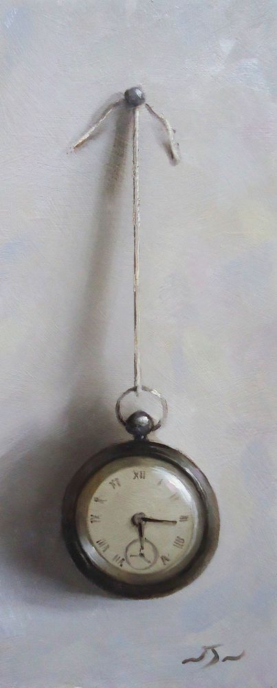 Original Oil Painting - Pocket Watch - Contemporary Still Life Art - Neil Nelson
