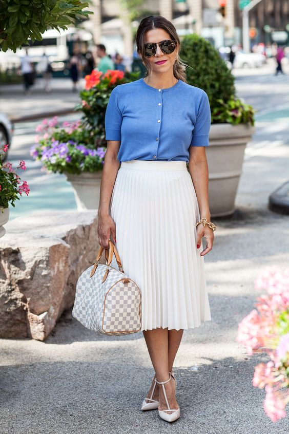 blue and white outfit with lv bag