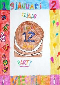 MB-BB. Wayne Thiebaud. De leerlingen trekken rondom hun blad een lijn ter breedte van de liniaal. In het midden van het vel tekenen ze een verjaardagstaart. In het  kader rondom de taart moeten ze in elk geval hun naam en verjaardagsdatum opnemen. De verdere invulling van het kader moet bestaan uit dingen die bij een verjaardag horen: cadeautjes, snoepjes, lollies, taartjes, vlaggetjes, kaarsjes e.d.