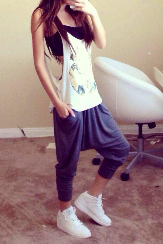 Lomeli Lovelace x women's dropcrotch sweats x tank top x white sneakers